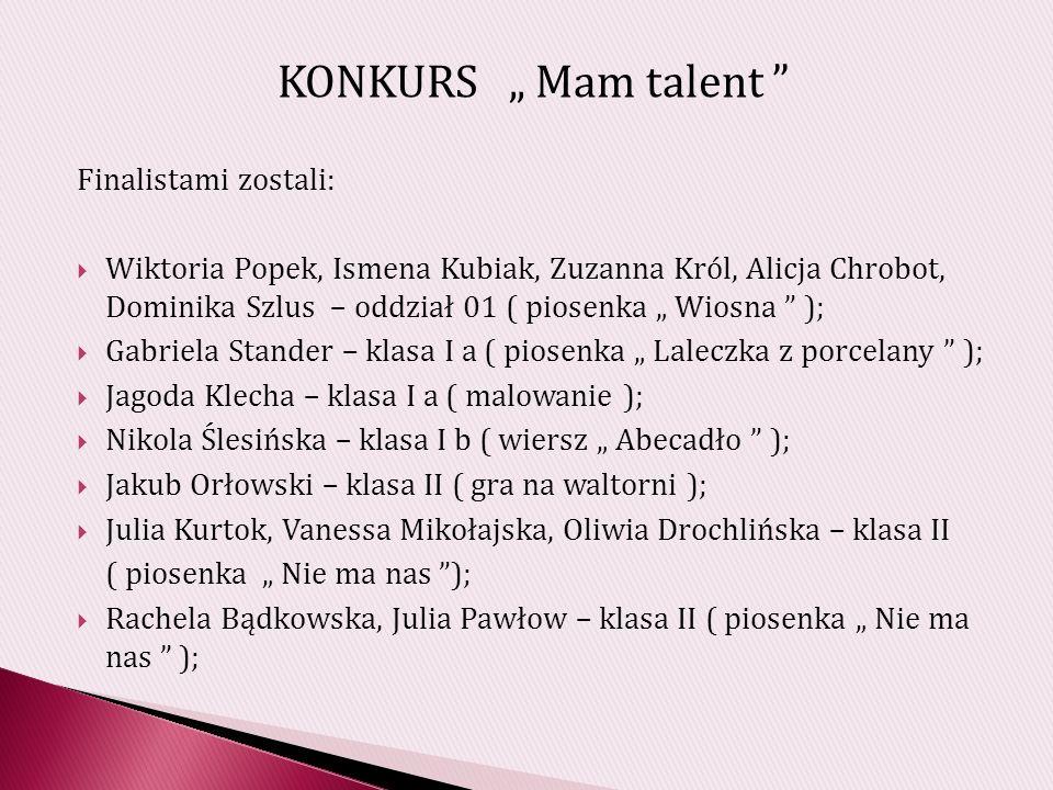 """KONKURS """" Mam talent Finalistami zostali:"""