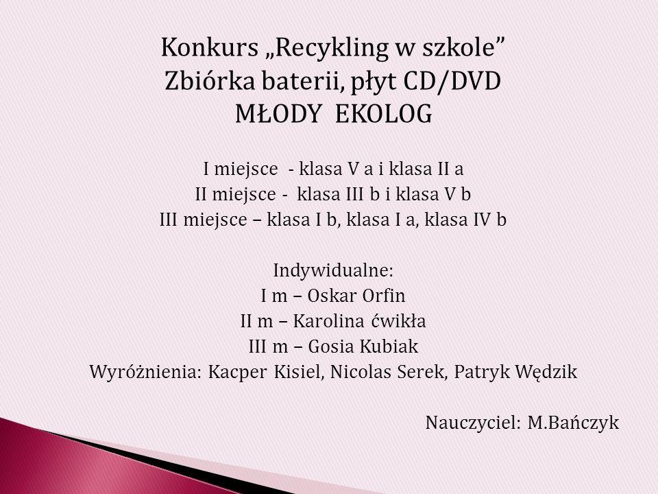 "Konkurs ""Recykling w szkole Zbiórka baterii, płyt CD/DVD MŁODY EKOLOG"