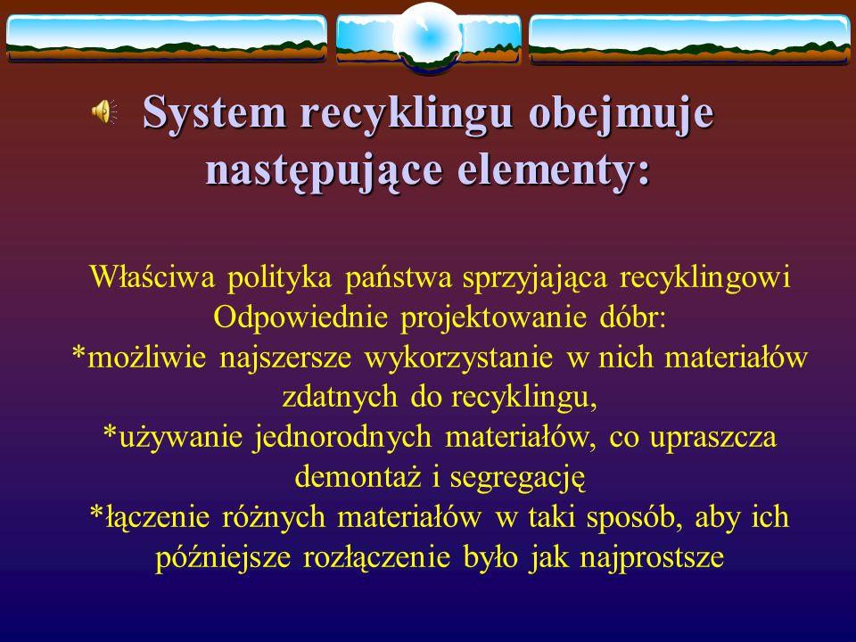 System recyklingu obejmuje następujące elementy: