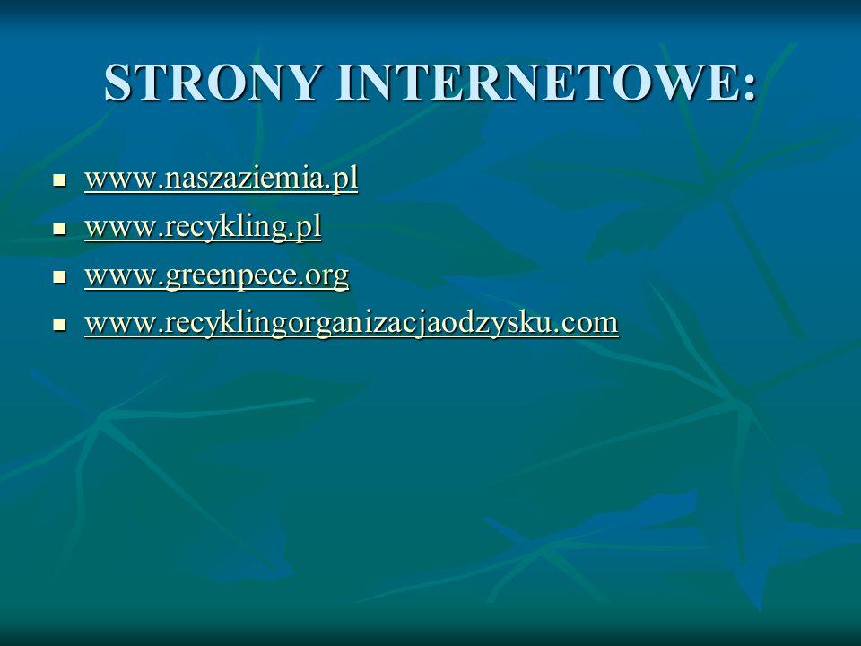 STRONY INTERNETOWE: www.naszaziemia.pl www.recykling.pl