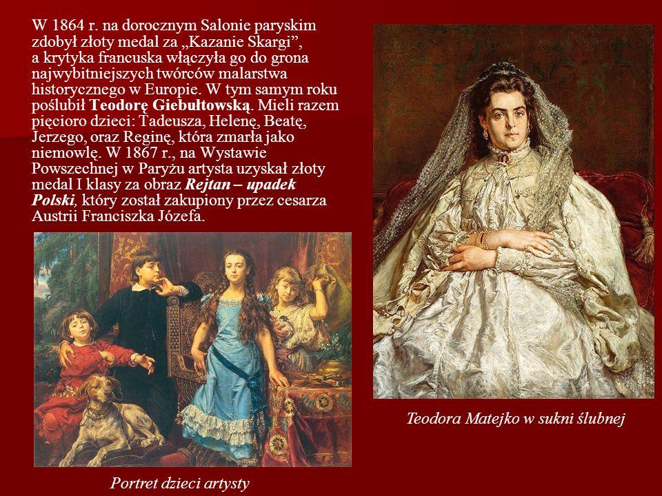 """W 1864 r. na dorocznym Salonie paryskim zdobył złoty medal za """"Kazanie Skargi , a krytyka francuska włączyła go do grona najwybitniejszych twórców malarstwa historycznego w Europie. W tym samym roku poślubił Teodorę Giebułtowską. Mieli razem pięcioro dzieci: Tadeusza, Helenę, Beatę, Jerzego, oraz Reginę, która zmarła jako niemowlę. W 1867 r., na Wystawie Powszechnej w Paryżu artysta uzyskał złoty medal I klasy za obraz Rejtan – upadek Polski, który został zakupiony przez cesarza Austrii Franciszka Józefa."""