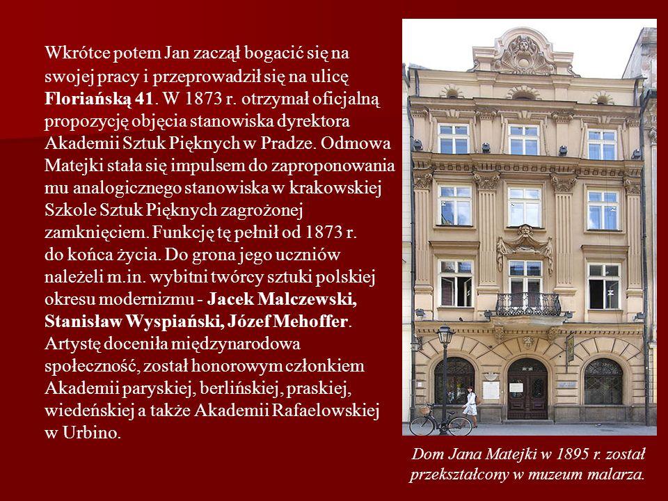 Dom Jana Matejki w 1895 r. został przekształcony w muzeum malarza.
