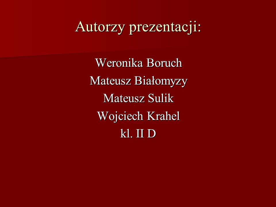 Autorzy prezentacji: Weronika Boruch Mateusz Białomyzy Mateusz Sulik