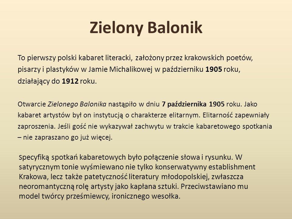 Zielony Balonik To pierwszy polski kabaret literacki, założony przez krakowskich poetów,