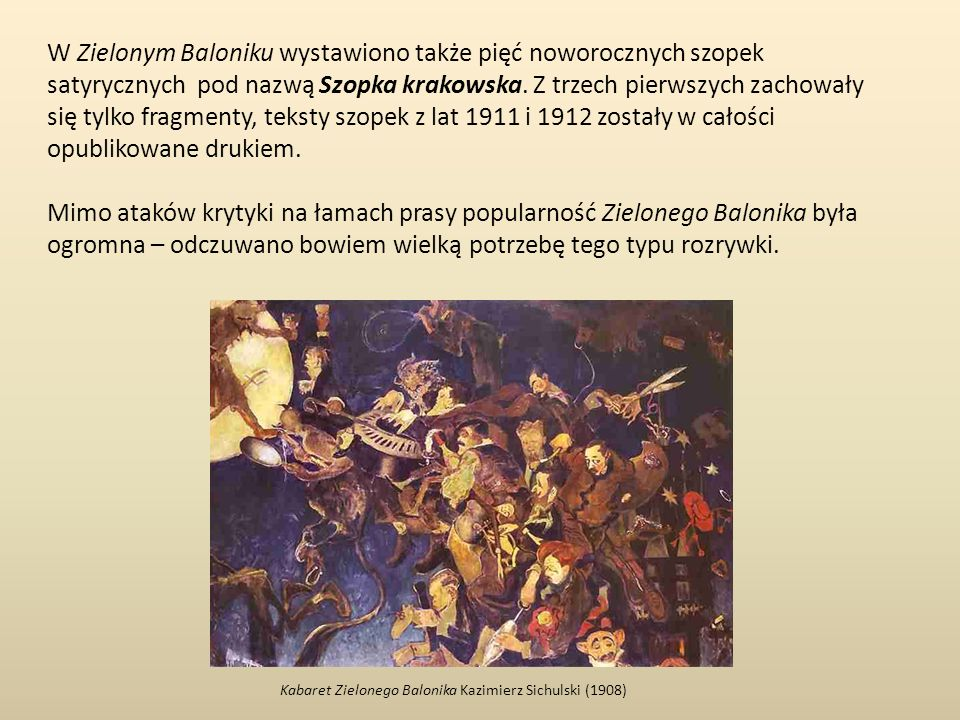 W Zielonym Baloniku wystawiono także pięć noworocznych szopek satyrycznych pod nazwą Szopka krakowska. Z trzech pierwszych zachowały się tylko fragmenty, teksty szopek z lat 1911 i 1912 zostały w całości opublikowane drukiem.