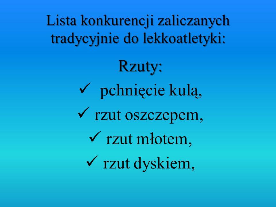 Lista konkurencji zaliczanych tradycyjnie do lekkoatletyki: