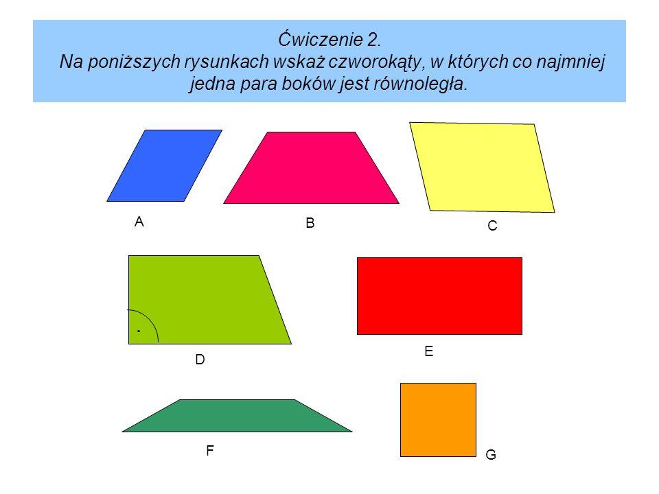 Ćwiczenie 2. Na poniższych rysunkach wskaż czworokąty, w których co najmniej jedna para boków jest równoległa.
