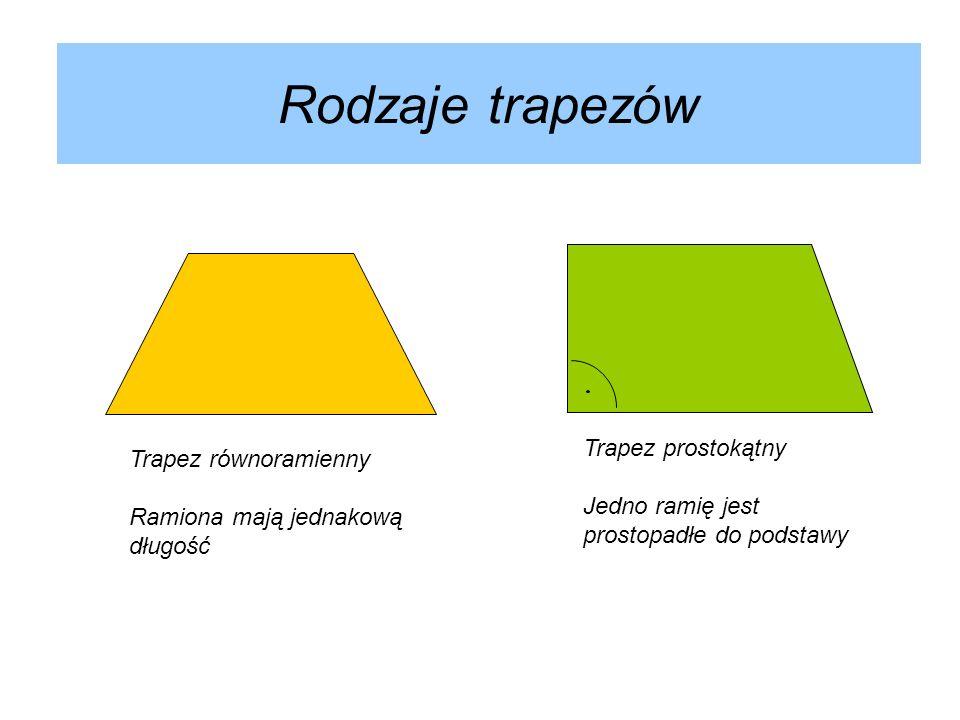 Rodzaje trapezów Trapez prostokątny Trapez równoramienny