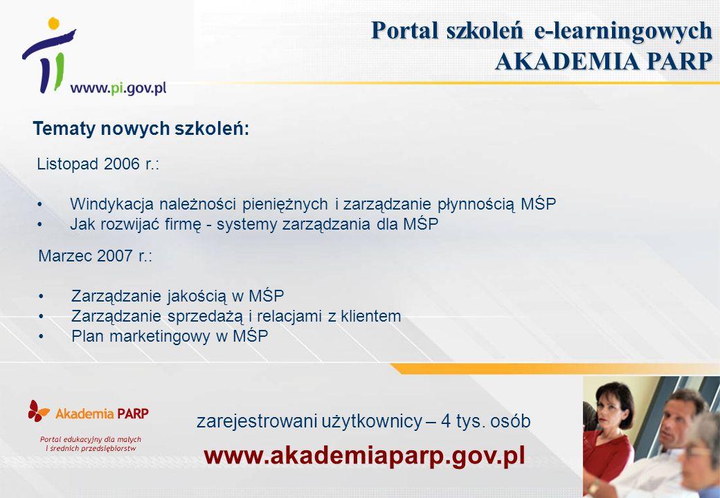 Portal szkoleń e-learningowych AKADEMIA PARP