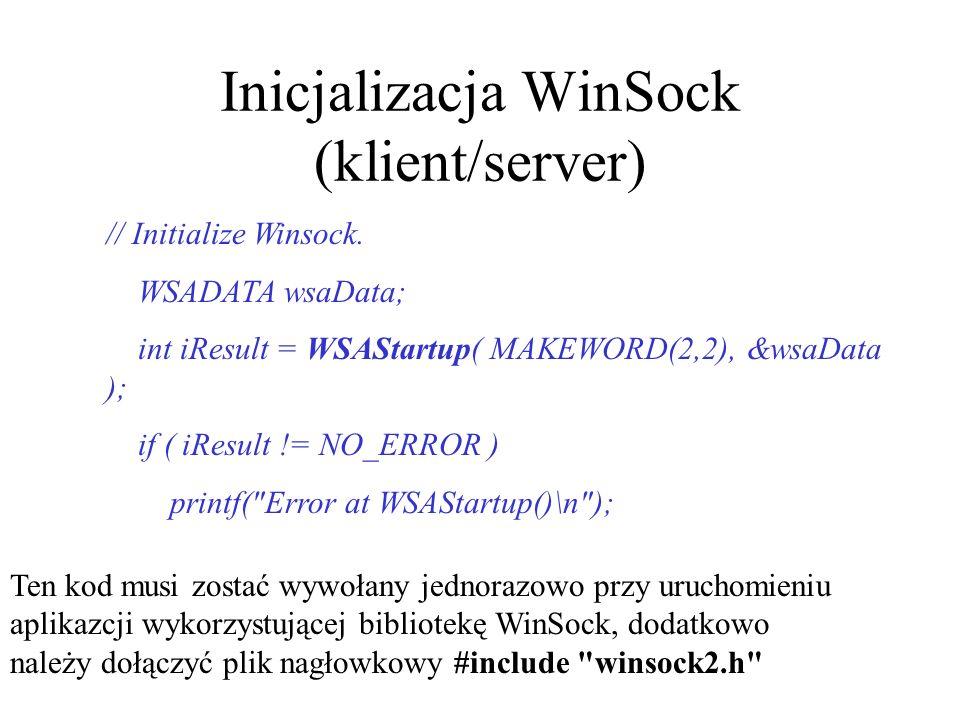 Inicjalizacja WinSock (klient/server)