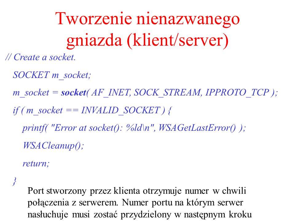 Tworzenie nienazwanego gniazda (klient/server)