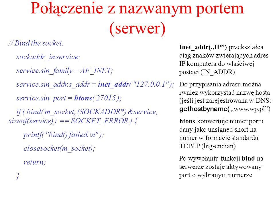 Połączenie z nazwanym portem (serwer)