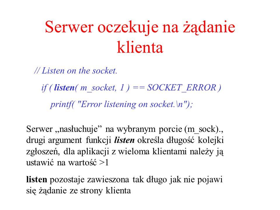 Serwer oczekuje na żądanie klienta