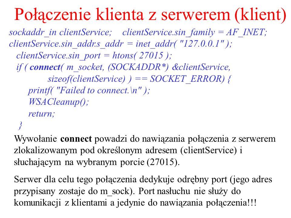 Połączenie klienta z serwerem (klient)