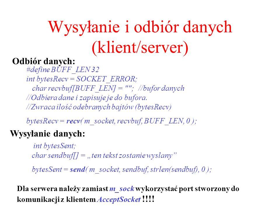 Wysyłanie i odbiór danych (klient/server)