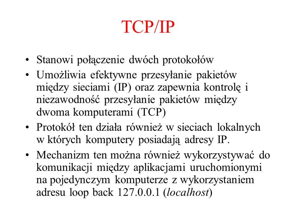 TCP/IP Stanowi połączenie dwóch protokołów