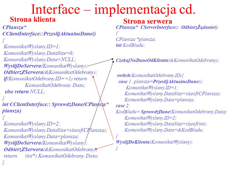 Interface – implementacja cd.