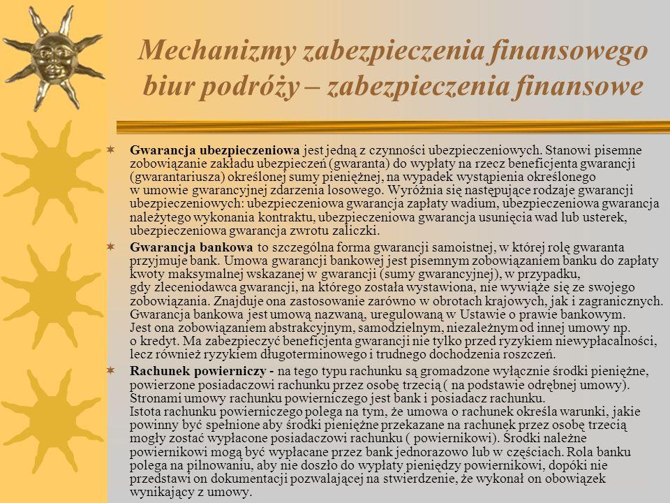 Mechanizmy zabezpieczenia finansowego biur podróży – zabezpieczenia finansowe