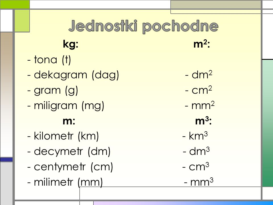 Jednostki pochodne kg: m2: - tona (t) - dekagram (dag) - dm2