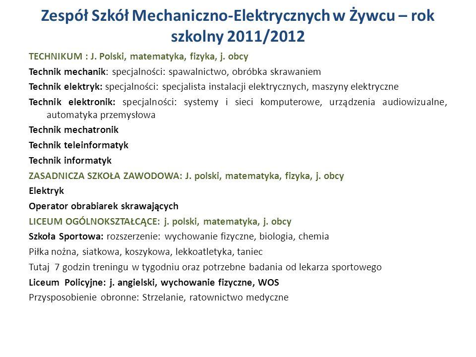 Zespół Szkół Mechaniczno-Elektrycznych w Żywcu – rok szkolny 2011/2012