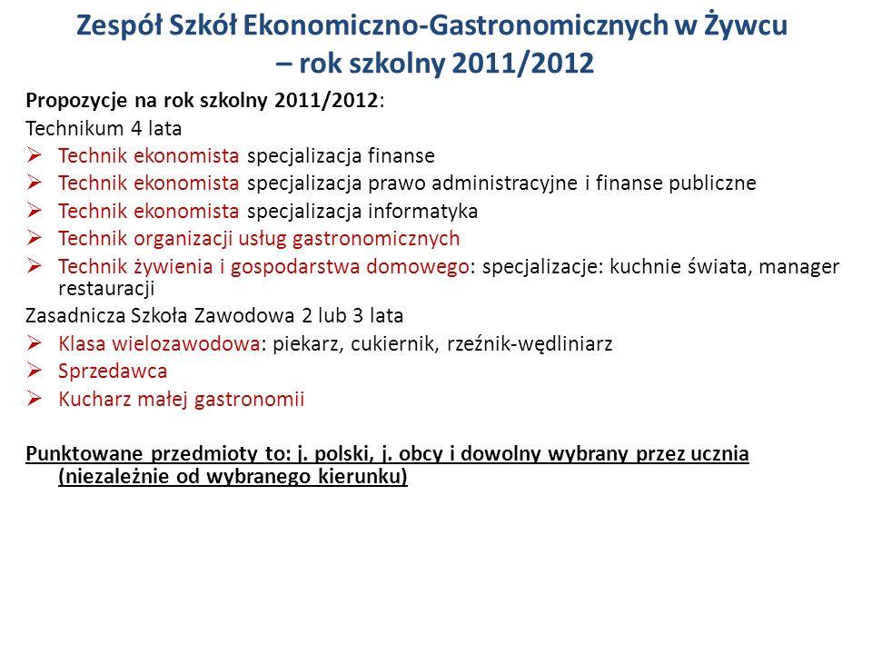 Zespół Szkół Ekonomiczno-Gastronomicznych w Żywcu – rok szkolny 2011/2012