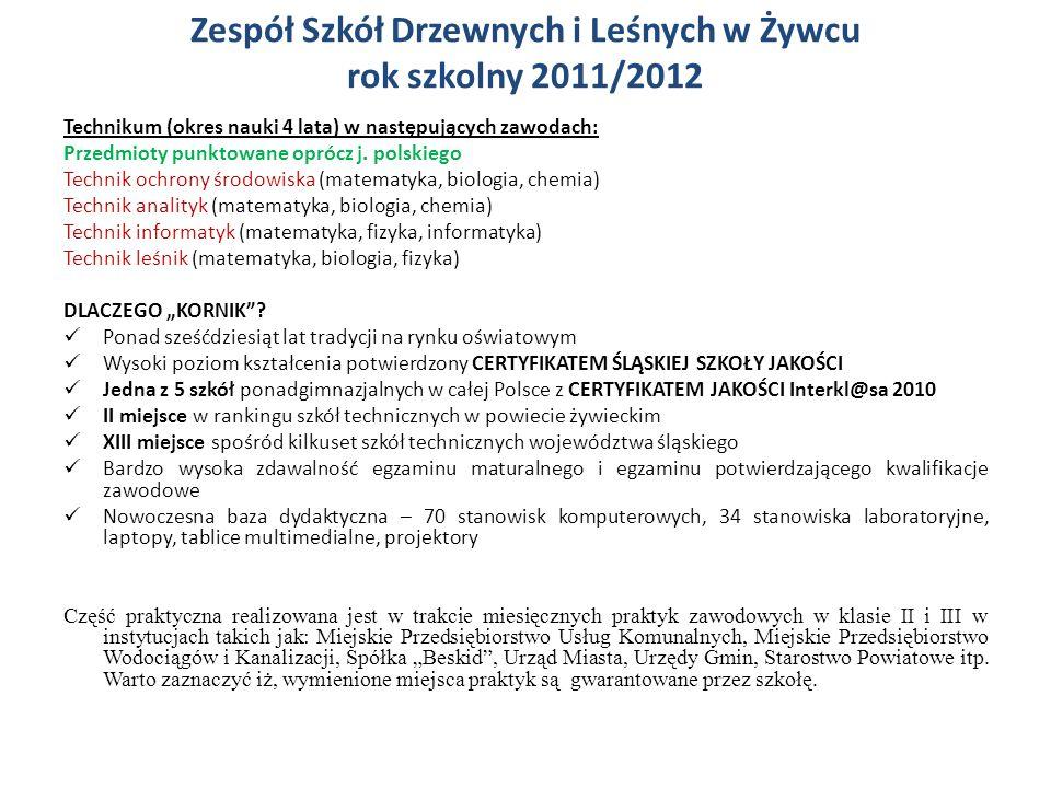 Zespół Szkół Drzewnych i Leśnych w Żywcu rok szkolny 2011/2012