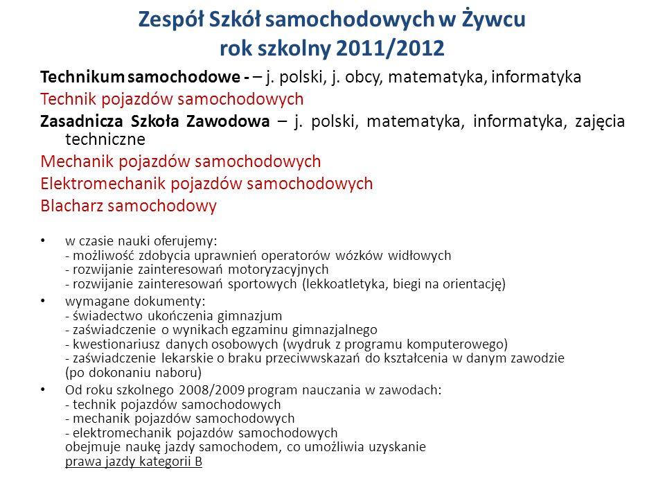 Zespół Szkół samochodowych w Żywcu rok szkolny 2011/2012