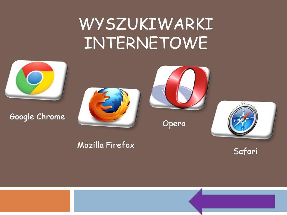 WYSZUKIWARKI INTERNETOWE Google Chrome Opera Mozilla Firefox Safari