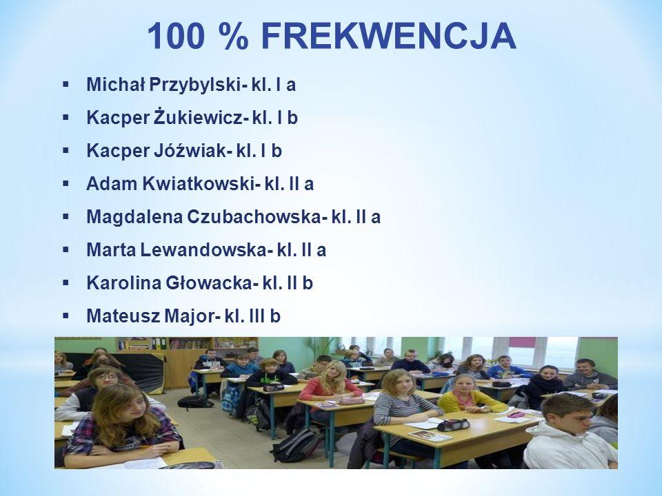 100 % FREKWENCJA Michał Przybylski- kl. I a Kacper Żukiewicz- kl. I b