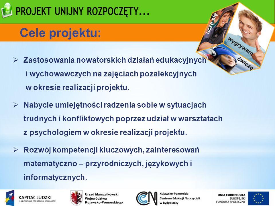 Cele projektu: Zastosowania nowatorskich działań edukacyjnych