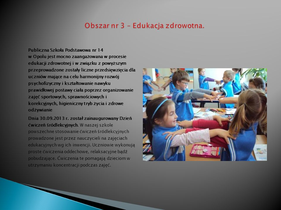 Obszar nr 3 – Edukacja zdrowotna.