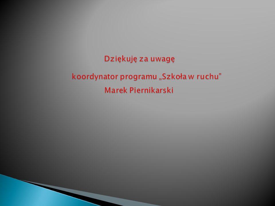 """Dziękuję za uwagę. koordynator programu """"Szkoła w ruchu"""