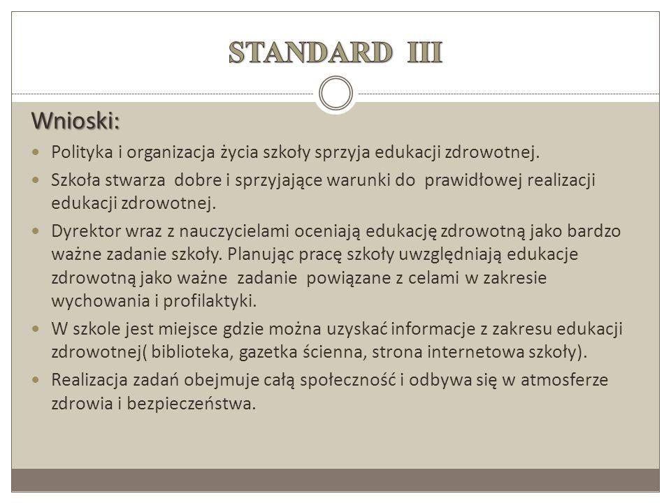 STANDARD III Wnioski: Polityka i organizacja życia szkoły sprzyja edukacji zdrowotnej.