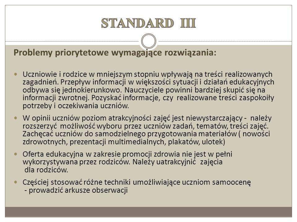 STANDARD III Problemy priorytetowe wymagające rozwiązania: