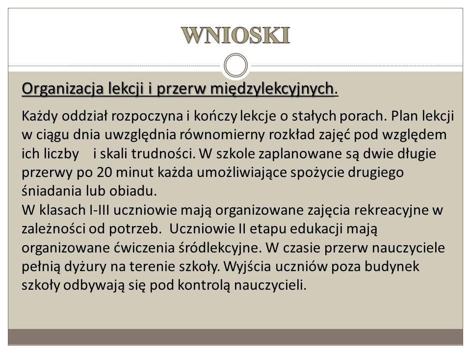 WNIOSKI Organizacja lekcji i przerw międzylekcyjnych.
