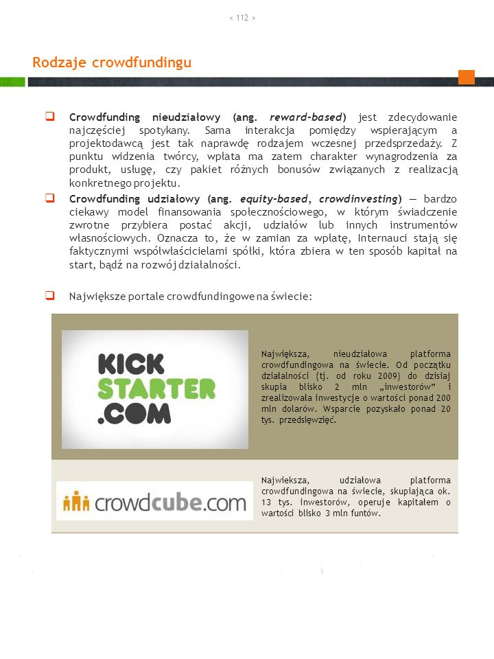 Rodzaje crowdfundingu