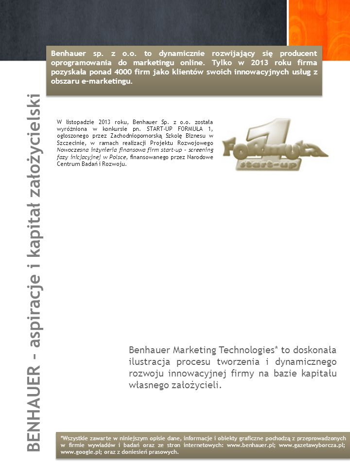 BENHAUER – aspiracje i kapitał założycielski