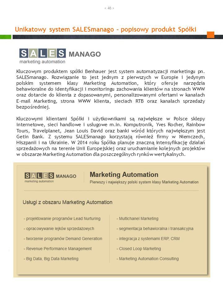 Unikatowy system SALESmanago – popisowy produkt Spółki