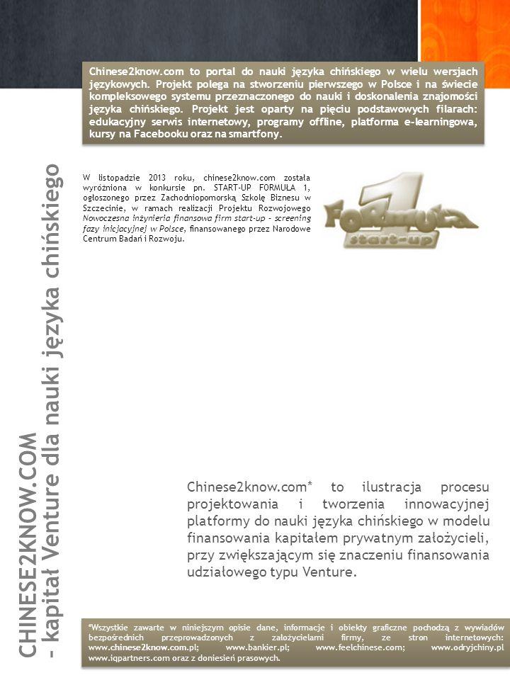 – kapitał Venture dla nauki języka chińskiego