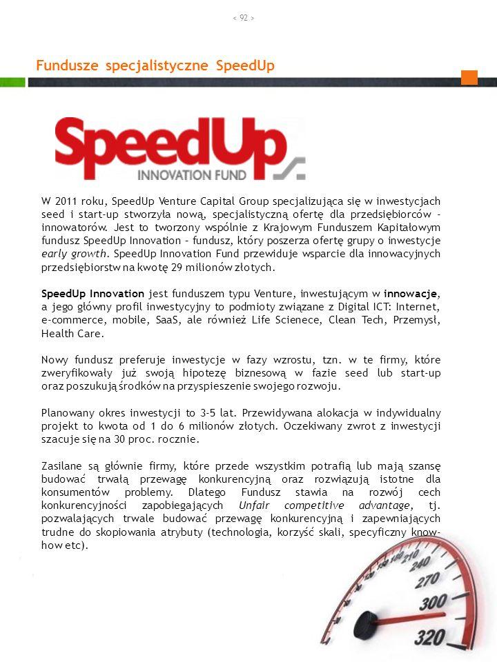 Fundusze specjalistyczne SpeedUp