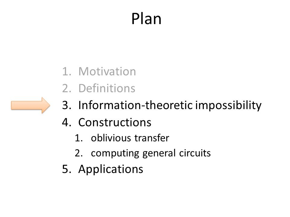 Plan Motivation Definitions Information-theoretic impossibility
