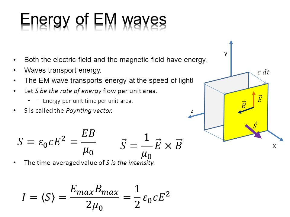 Energy of EM waves 𝑆= 𝜀 0 𝑐 𝐸 2 = 𝐸𝐵 𝜇 0 𝑆 = 1 𝜇 0 𝐸 × 𝐵
