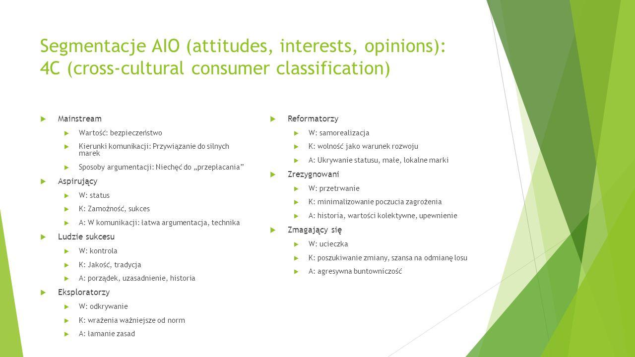 Segmentacje AIO (attitudes, interests, opinions): 4C (cross-cultural consumer classification)