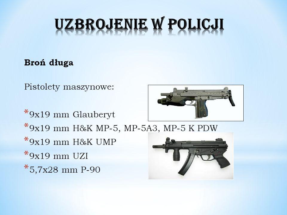 UZBROJENIE W POLICJI Broń długa Pistolety maszynowe: 9x19 mm Glauberyt