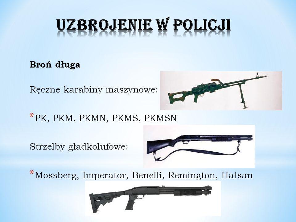 UZBROJENIE W POLICJI Broń długa Ręczne karabiny maszynowe: