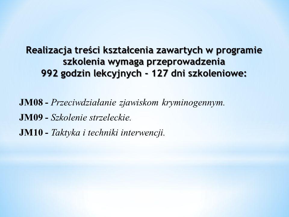 Realizacja treści kształcenia zawartych w programie szkolenia wymaga przeprowadzenia 992 godzin lekcyjnych - 127 dni szkoleniowe: JM08 - Przeciwdziałanie zjawiskom kryminogennym.