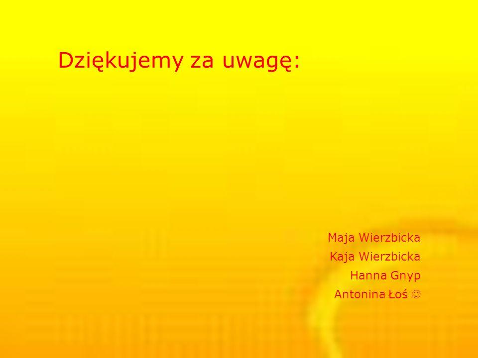 Dziękujemy za uwagę: Maja Wierzbicka Kaja Wierzbicka Hanna Gnyp Antonina Łoś 