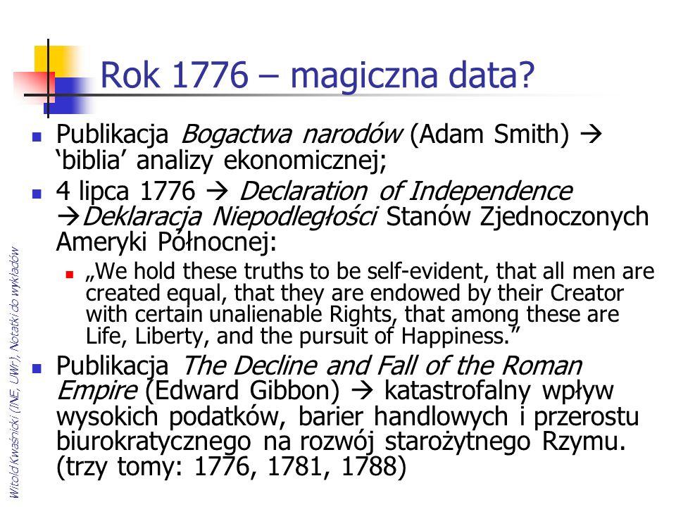 Rok 1776 – magiczna data Publikacja Bogactwa narodów (Adam Smith)  'biblia' analizy ekonomicznej;