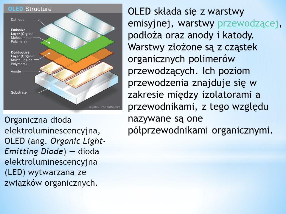 OLED składa się z warstwy emisyjnej, warstwy przewodzącej, podłoża oraz anody i katody. Warstwy złożone są z cząstek organicznych polimerów przewodzących. Ich poziom przewodzenia znajduje się w zakresie między izolatorami a przewodnikami, z tego względu nazywane są one półprzewodnikami organicznymi.