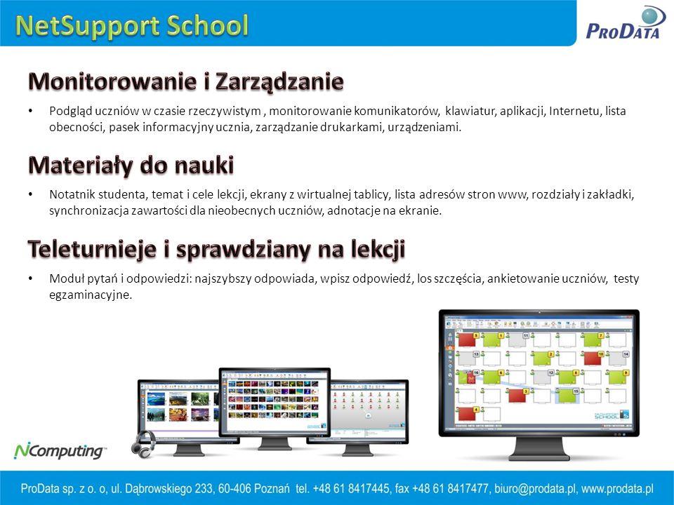 NetSupport School Monitorowanie i Zarządzanie Materiały do nauki